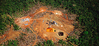 Oil exploration drilling in tropical rain forest. Aerial. South America