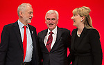 © Joel Goodman - 07973 332324 . 26/09/2016 . Liverpool , UK . Party leader JEREMY CORBYN , shadow chancellor JOHN MCDONNELL and REBECCA LONG-BAILEY after McDonnell delivers his speech on the economy to the conference . The second day of the Labour Party Conference at the ACC Liverpool . Photo credit : Joel Goodman