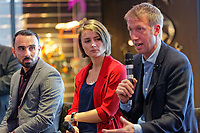 Pictured: (L-R) Leon Britton, Michelle Owen and Graham Potter. Thursday 27 September 2018<br /> Re: Swansea City AFC Business Networking event at the Liberty Stadium, Wales, UK.
