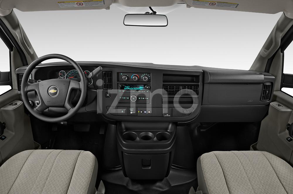 Stock photo of straight dashboard view of 2020 Chevrolet Express-Cargo WT 4 Door Cargo Van Dashboard