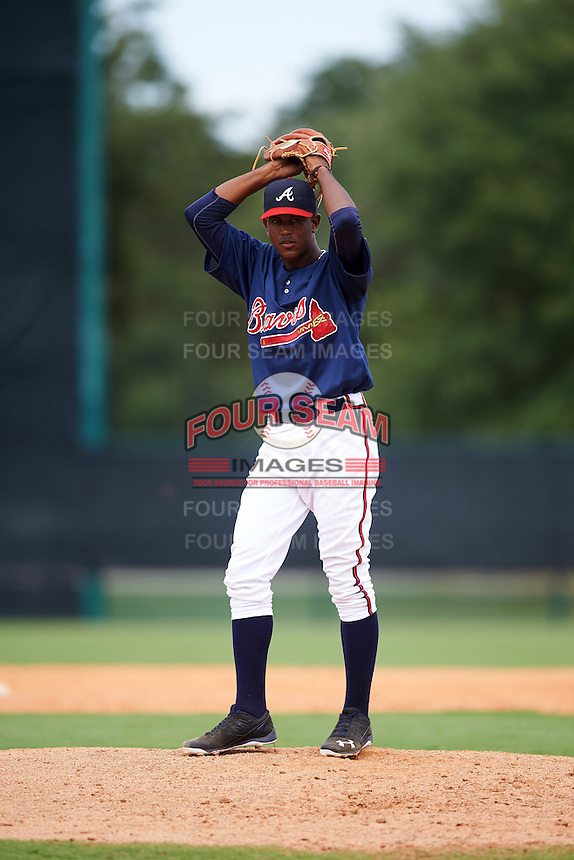 GCL Braves relief pitcher Jesus Heredia (50) during a game against the GCL Blue Jays on August 5, 2016 at ESPN Wide World of Sports in Orlando, Florida.  GCL Braves defeated the GCL Blue Jays 9-0.  (Mike Janes/Four Seam Images)