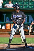 Jasrado Chisholm (7) of the Missoula Osprey at bat against the Ogden Raptors in Pioneer League action at Lindquist Field on July 14, 2016 in Ogden, Utah. Ogden defeated Missoula 10-4. (Stephen Smith/Four Seam Images)