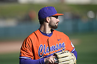 Pitcher Spencer Strider (29) of the Clemson Tigers warms up before a game against the Stony Brook Seawolves on Friday, February 21, 2020, at Doug Kingsmore Stadium in Clemson, South Carolina. Clemson won, 2-0. (Tom Priddy/Four Seam Images)