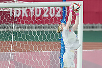 YOKOHAMA, JAPAN - AUGUST 6: Hedvig Lindahl #1 of Sweden during a game between Canada and Sweden at International Stadium Yokohama on August 6, 2021 in Yokohama, Japan.