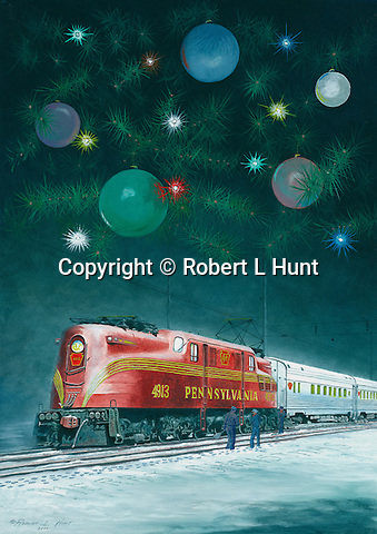 """Pennsylvania Railroad GG1with passenger train in a Christmas holiday setting. Oil on canvas, 12"""" x 17""""."""