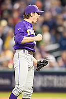 LSU Tigers pitcher Jesse Stallings (37) celebrates an inning ending strike out during the NCAA baseball game against the Baylor Bears on March 7, 2015 in the Houston College Classic at Minute Maid Park in Houston, Texas. LSU defeated Baylor 2-0. (Andrew Woolley/Four Seam Images)