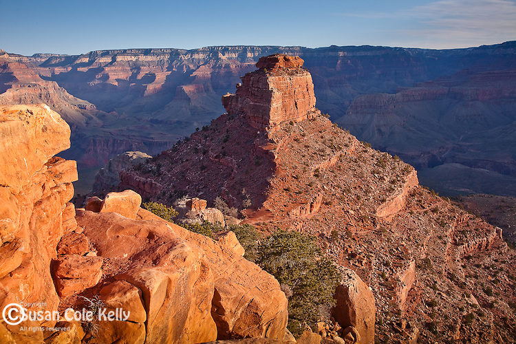 View of O'Neil Butte from the South Kaibab Trail at Grand Canyon National Park, AZ, USA
