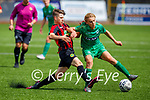 Kerry's Ronan Teahan and Carlow Kilkenny's Jamie Furlong tussle for the ball,  in the U17 League of Ireland game