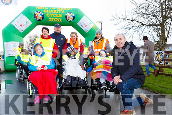 Liam Twomey St Francis NS Beaufort at the annoucement that the school will be a official charity for the Ring of Kerry Cycle at the school on Tuesday l-r: Ann Foley, Elyson Callaghan, Cathal Walshe Ring Of Kerry Cycle, Catriona Healy, Ifram Ahmed, Denise and Tadhg Costello