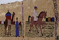 Afrique/Egypte/Env de Louxor/Ancienne Thèbes/El Go Rno: Maison d'un habitant qui a fait le pélerinage à la Mecque - Scène équestre