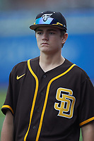 Cole Lanford of Cardinal Gibbons High School (NC) playing for the San Diego Padres scout team during the South Atlantic Border Battle Futures Game at Truist Point on September 25, 2020 in High Pont, NC. (Brian Westerholt/Four Seam Images)