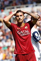 Roma's Lorenzo Pellegrini reacts during the Italian Serie A football match between Roma and Chievo Verona at Rome's Olympic stadium, September 16, 2018.<br /> UPDATE IMAGES PRESS/Riccardo De Luca