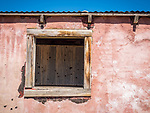 Pink walls, windows, inside wall with paint runs on the wall, ghost town of Beowawe, Nevada