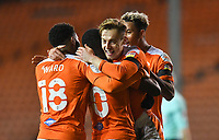 Blackpool's Dan Kemp celebrates scoring his team's opening goa<br /> <br /> Photographer Dave Howarth/CameraSport<br /> <br /> EFL Trophy - Northern Section - Group G - Blackpool v Leeds United U21 - Wednesday 11th November 2020 - Bloomfield Road - Blackpool<br />  <br /> World Copyright © 2020 CameraSport. All rights reserved. 43 Linden Ave. Countesthorpe. Leicester. England. LE8 5PG - Tel: +44 (0) 116 277 4147 - admin@camerasport.com - www.camerasport.com