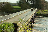 Bridge over the River Ribble at Avenham Park, Preston, Lancashire in autumn.