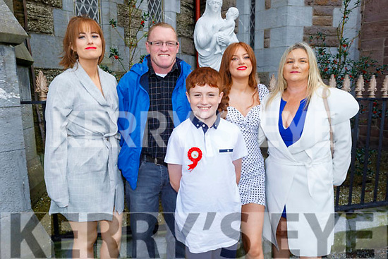 Sean O'Mahoney former student of St Brendans NS Blennerville receiving his Confirmation in St John's Church on Saturday.<br /> L to r: Caroline Donnelly, Eoin O'Mahoney, Erin Donnelly and Geraldine O'Mahoney.