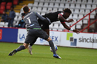 Ref gives no foul as Jamie Cumming of Stevenage F.C. pulls down Brandon Thomas-Asante of Salford City F.C. during Stevenage vs Salford City, Sky Bet EFL League 2 Football at the Lamex Stadium on 3rd October 2020