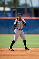 GCL Marlins second baseman Walner Espinal (14) during a game against the GCL Mets on August 3, 2018 at St. Lucie Sports Complex in Port St. Lucie, Florida.  GCL Mets defeated GCL Marlins 3-2.  (Mike Janes/Four Seam Images)