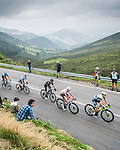 The large breakaway during Stage 19 of La Vuelta d'Espana 2021, running 191.2km from Tapia de Casariego to Monforte de Lemos, Spain. 3rd September 2021.    <br /> Picture: Unipublic/Charly Lopez   Cyclefile<br /> <br /> All photos usage must carry mandatory copyright credit (© Cyclefile   Charly Lopez/Unipublic)