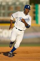 Julio Aparicio (23) of the Burlington Royals hustles into third base at Burlington Athletic Park in Burlington, NC, Monday August 11, 2008. (Photo by Brian Westerholt / Four Seam Images)
