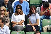 Karine Ferri and Nolwenn Leroy seen watching tennis during Roland Garros tennis open 2016 on may 27 2016.