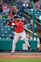 Pawtucket Red Sox second baseman Dustin Pedroia (15) at bat during a game against the Rochester Red Wings on May 19, 2018 at Frontier Field in Rochester, New York.  Rochester defeated Pawtucket 2-1.  (Mike Janes/Four Seam Images)