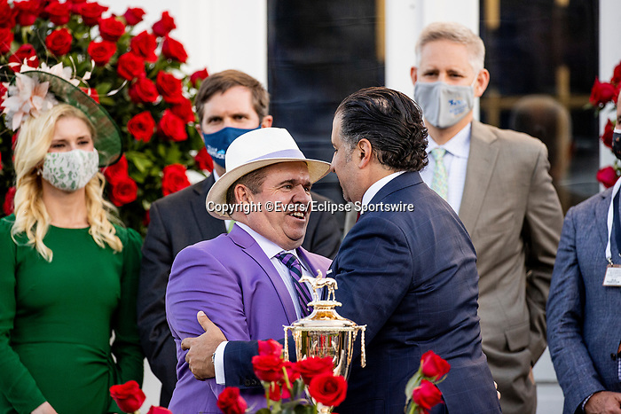 MAY 01, 2021:  Amp Zedan with Frank Taylor after winning the Kentucky Derby at Churchill Downs in Louisville, Kentucky on May 1, 2021. EversEclipse Sportswire/CSM