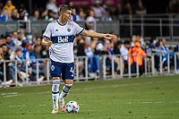 SAN JOSE, CA - AUGUST 13: Pedro Vite #? of the Vancouver Whitecaps dribbles the ball during a game between San Jose Earthquakes and Vancouver Whitecaps at PayPal Park on August 13, 2021 in San Jose, California.
