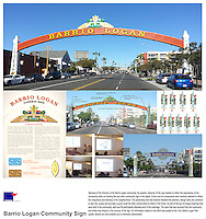 Barrio Logan Community Sign, San Diego. Graphic character of sign needed to reflect the diversity of community and fostered community bi-lingual meetings. Vicki Estrada, landscape architect.