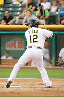 Tommy Field (12) of the Salt Lake Bees at bat against the Tacoma Rainiers in Pacific Coast League action at Smith's Ballpark on July 9, 2014 in Salt Lake City, Utah.  (Stephen Smith/Four Seam Images)