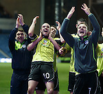 Stranraer striker Jamie Longworth takes the acclaim at the end of the match after ending Rangers winning league record