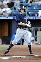 Empire State Yankees second baseman Corban Joseph #1 avoids a pitch during a game against the Durham Bulls at Durham Bulls Athletic Park on June 8, 2012 in Durham, North Carolina . The Yankees defeated the Bulls 3-1. (Tony Farlow/Four Seam Images).