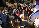 """Students backstage during the Q & A before The Rockefeller Foundation and The Gilder Lehrman Institute of American History sponsored High School student #EduHam matinee performance of """"Hamilton"""" at the Richard Rodgers Theatre on 5/22/2019 in New York City."""