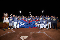 The Charleston RiverDogs celebrate winning the 2021 Low-A East Championship over the Down East Wood Ducks at Joseph P. Riley, Jr. Park on September 26, 2021 in Charleston, South Carolina. (Brian Westerholt/Four Seam Images)