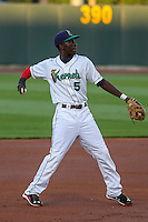 Cedar Rapids Kernels shortstop Nick Gordon (5) throws to first base during game five of the Midwest League Championship Series against the West Michigan Whitecaps on September 21st, 2015 at Perfect Game Field at Veterans Memorial Stadium in Cedar Rapids, Iowa.  West Michigan defeated Cedar Rapids 3-2 to win the Midwest League Championship. (Brad Krause/Four Seam Images)