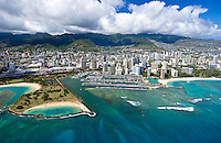 Aerial of Ala Moana beach park and magic island with Ala Wai harbor, Oahu