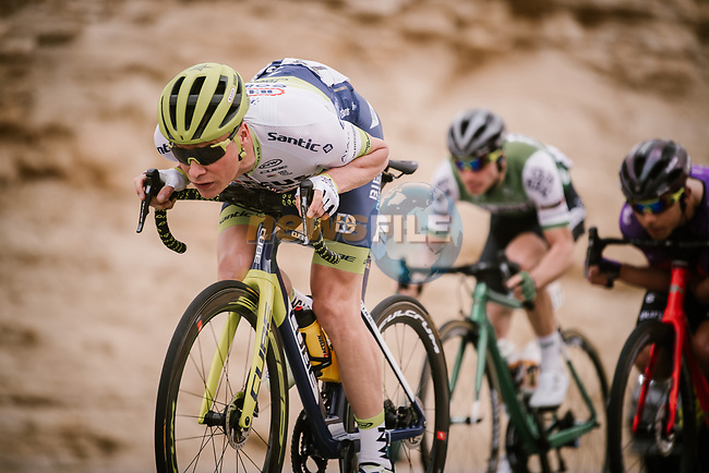 Kevin Van Melsen (BEL) Circus-Wanty Gobert leads the breakaway during Stage 2 of the Saudi Tour 2020 running 187km from Sadus Castle to Al Bujairi, Saudi Arabia. 5th February 2020. <br /> Picture: ASO/Pauline Ballet | Cyclefile<br /> All photos usage must carry mandatory copyright credit (© Cyclefile | ASO/Pauline Ballet)