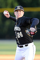 Starting pitcher Matthew Milburn (24) of the Wofford College Terriers delivers a pitch in a game against the Boston College Eagles on Friday, February 13, 2015, at Russell C. King Field in Spartanburg, South Carolina. Wofford won, 8-4, and Milburn got the win. (Tom Priddy/Four Seam Images)