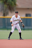 GCL Pirates shortstop Kyle Mottice (24) during the first game of a doubleheader against the GCL Yankees East on July 31, 2018 at Pirate City Complex in Bradenton, Florida.  GCL Yankees East defeated GCL Pirates 2-0.  (Mike Janes/Four Seam Images)