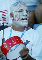 20 August 2004:  USA Fan roots for USWNT against Japan during the quarterfinals at Kaftanzoglio Stadium in Thessaloniki, Greece.     USA defeated Japan, 2-1 .   Credit: Michael Pimentel / ISI