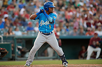 Amarillo Sod Poodles Rodrigo Orozco (1) bats during a Texas League game against the Frisco RoughRiders on July 12, 2019 at Dr Pepper Ballpark in Frisco, Texas.  (Mike Augustin/Four Seam Images)