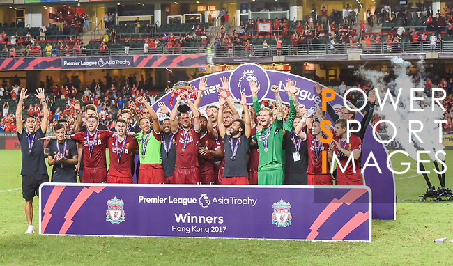Players of Liverpool FC celebrate with the trophy during the Premier League Asia Trophy prize presentation at Hong Kong Stadium on 22 July 2017, in Hong Kong, China. Photo by Weixiang Lim / Power Sport Images