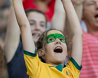 GRENOBLE, FRANCE - JUNE 18: WWC 2019 Australia fan during a game between Jamaica and Australia at Stade des Alpes on June 18, 2019 in Grenoble, France.