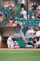 Lehigh Valley IronPigs center fielder Collin Cowgill (7) grounds out in front of catcher Juan Graterol (52) during a game against the Rochester Red Wings on June 30, 2018 at Frontier Field in Rochester, New York.  Lehigh Valley defeated Rochester 6-2.  (Mike Janes/Four Seam Images)