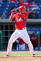 Philadelphia Phillies infielder Cesar Hernandez #74 during a scrimmage against the Florida State Seminoles at Brighthouse Field on February 29, 2012 in Clearwater, Florida.  Philadelphia defeated Florida State 6-1.  (Mike Janes/Four Seam Images)