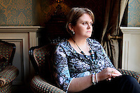 NO REPRO FEE. 7/10/2010. ALZHEIMER SOCIETY PRE-BUDGET SUBMISSION.  Pictured in Buswells Hotel, Dublin is carer Bernadette Brady from Rathfarnum whose 87 year old mother Mary has Alzheimers took to the gates of the Dail during the launch of the charity's Pre-Budget Submission to call on the Government to help the tens of thousands of people living with dementia in Ireland and their carers. The Alzheimer Society of Ireland has warned the Government that further funding cuts to its services in the coming Budget will see some of the 44,000 people living with dementia and their 50,000 carers left without even basic support though community services. The charity made its call at the launch of its Pre-Budget Submission 2011 as it revealed that many carers are now at crisis point as figures show waiting lists for dementia services have shot up by 33% in the last year.Picture James Horan/Collins Photos