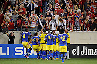 Jaime Ayovi (17) of Ecuadorcelebrates scoring with teammates. The men's national team of the United States (USA) was defeated by Ecuador (ECU) 1-0 during an international friendly at Red Bull Arena in Harrison, NJ, on October 11, 2011.