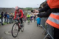 Thomas De Gendt (BEL/Lotto-Soudal) leading the race up the Cote de Saint-Roche (1850m/6.3%) in Houffalize<br /> <br /> 102nd Liège-Bastogne-Liège 2016