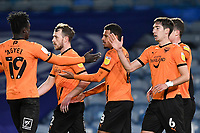 Alex Gorrin of Oxford United right is congratulated on scoring from the penalty spot to make the score 1-1 by Daniel Agyei of Oxford United during Portsmouth vs Oxford United, Sky Bet EFL League 1 Football at Fratton Park on 24th November 2020