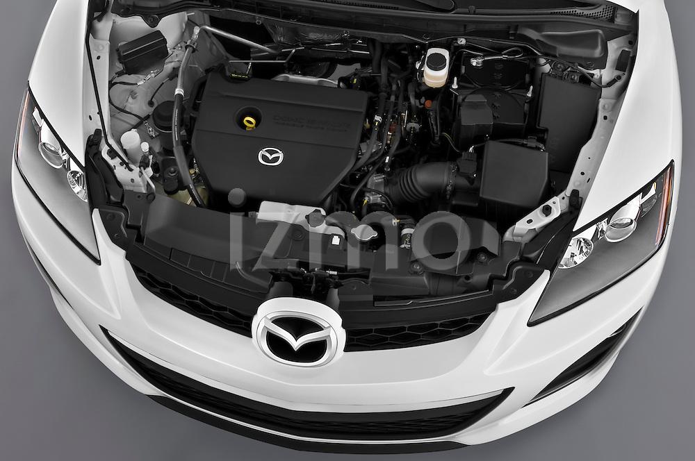 High angle engine detail of a 2010 Mazda CX7i Sport.